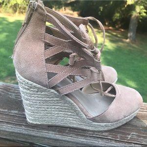 Close toe wedge heels. Tan suede look